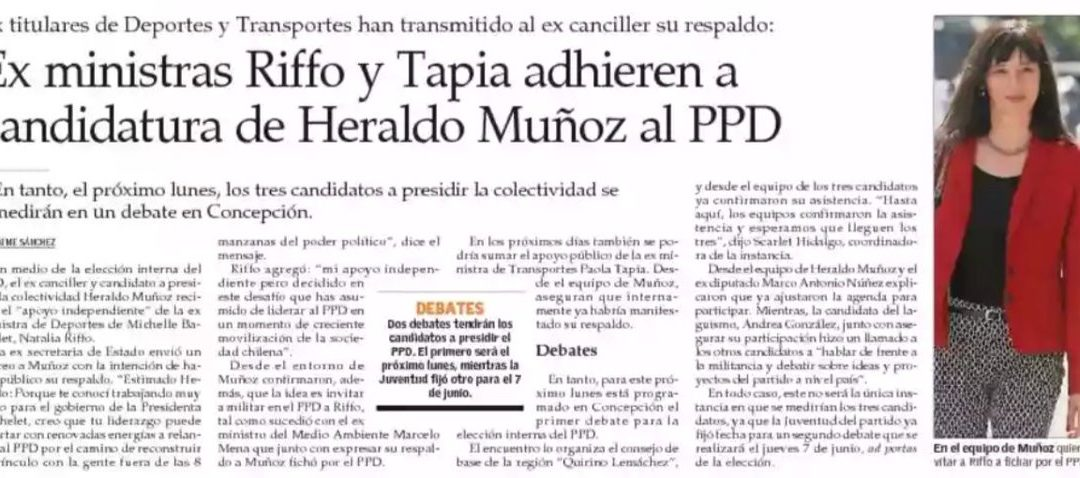 Ex ministras Riffo y Tapia adhieren a candidatura de Heraldo Muñoz al PPD